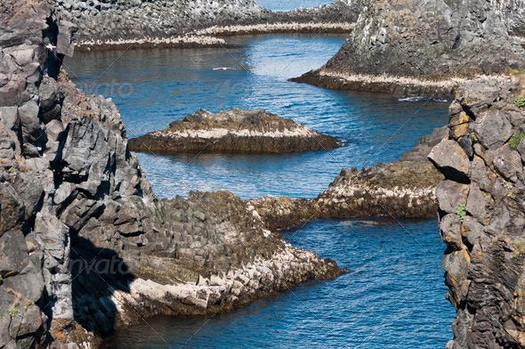 Arnarstapi rock formations of Iceland's coast - Stock Photo - Images