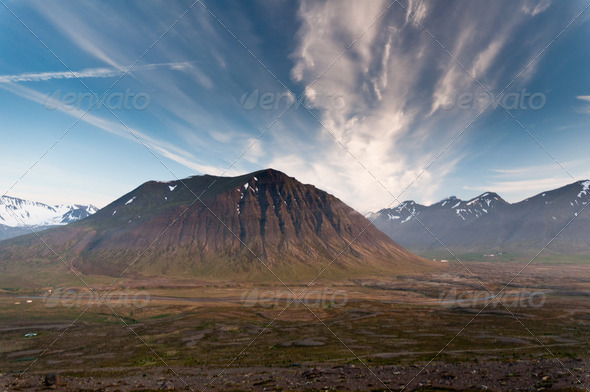 huge mountains in Iceland in wonderful light - Stock Photo - Images