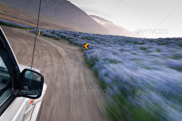 off-road car driving madly fast - Stock Photo - Images