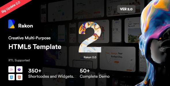Rakon – Creative Multi-Purpose Landing Page HTML5 Template (RTL Supported)