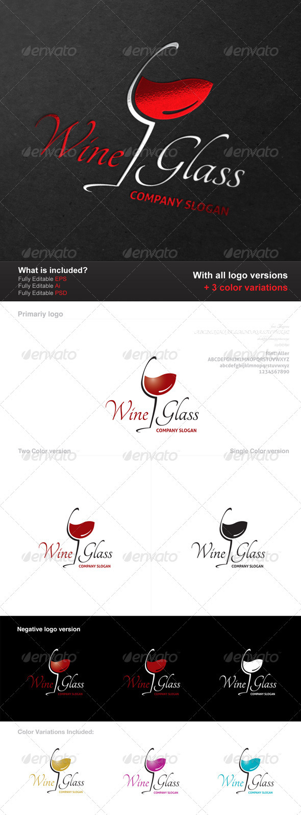 Wine Glass Logo - Food Logo Templates