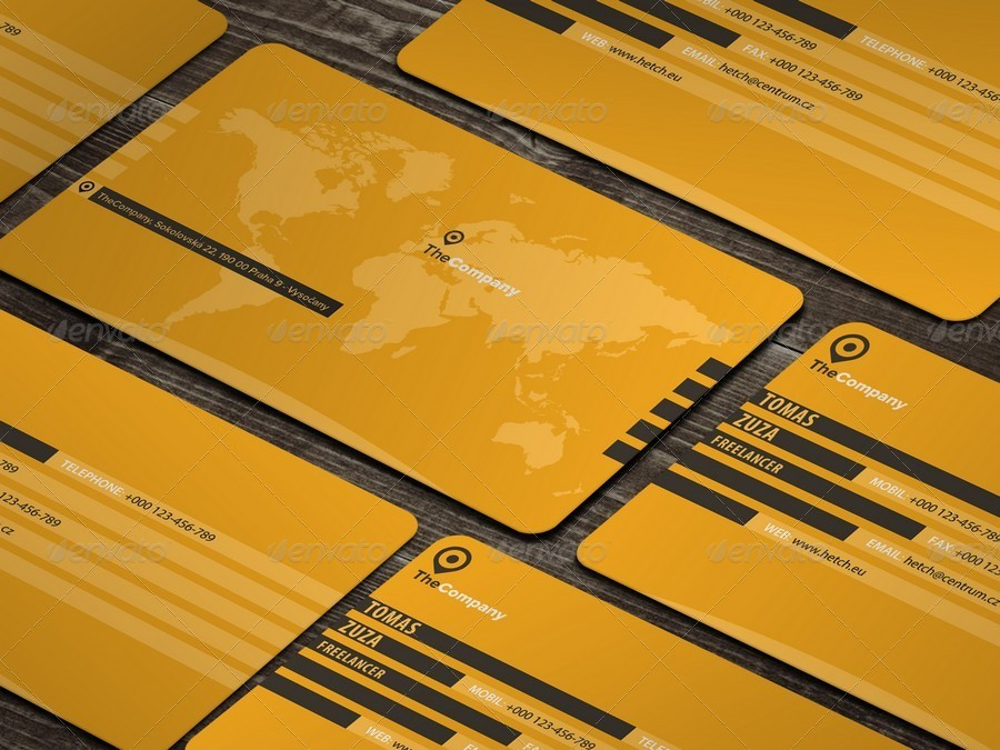 World Map Professional Business Card by Hetch | GraphicRiver