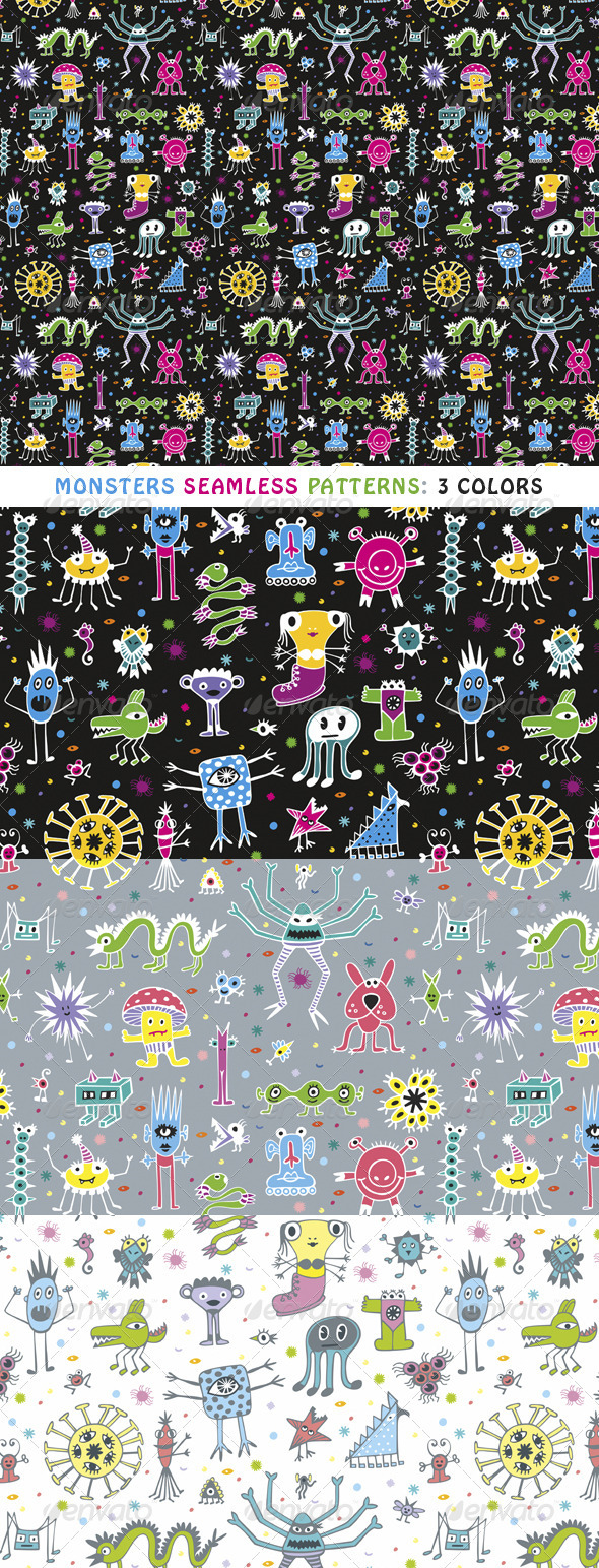 Monsters Seamless Patterns - Patterns Decorative