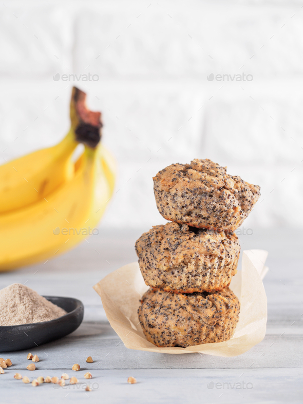banana muffins with buckwheat flour and poppy seeds - Stock Photo - Images