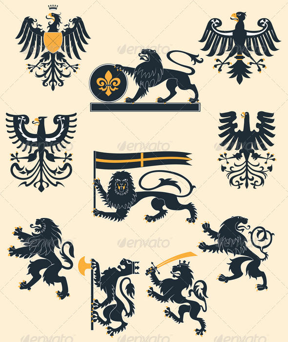 Heraldic lions and eagles set - Animals Characters