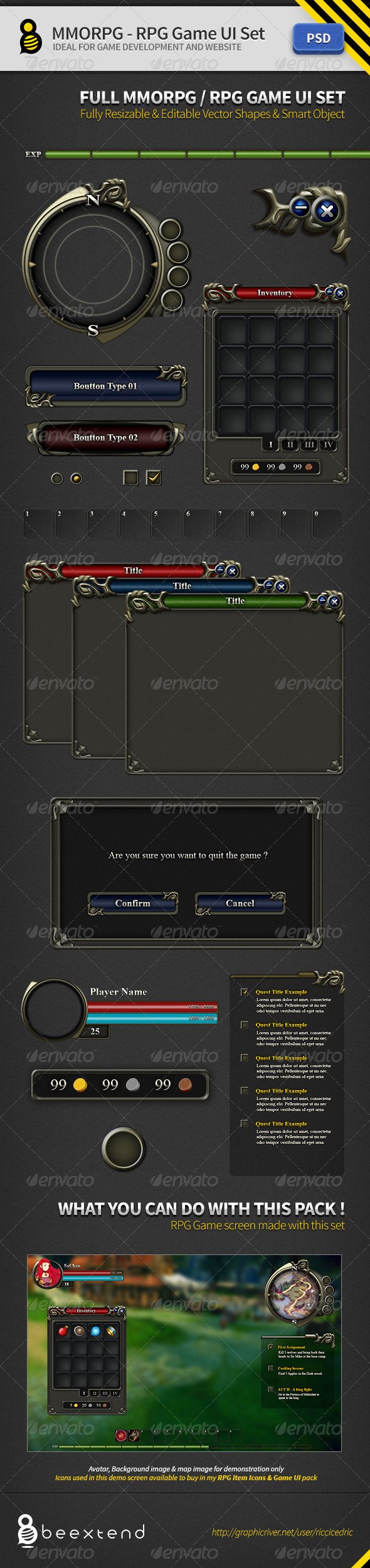 MMORPG-RPG Game UI Set - User Interfaces Web Elements