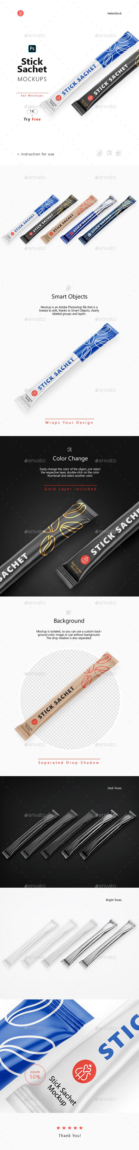 Stick Sachet Mockup Set – Half side View