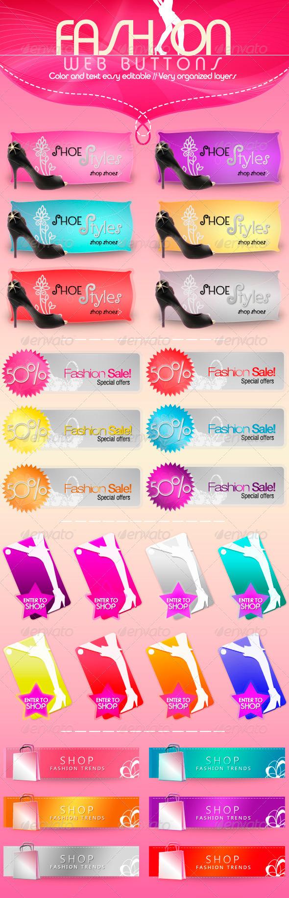 Fashion Web Buttons - Buttons Web Elements