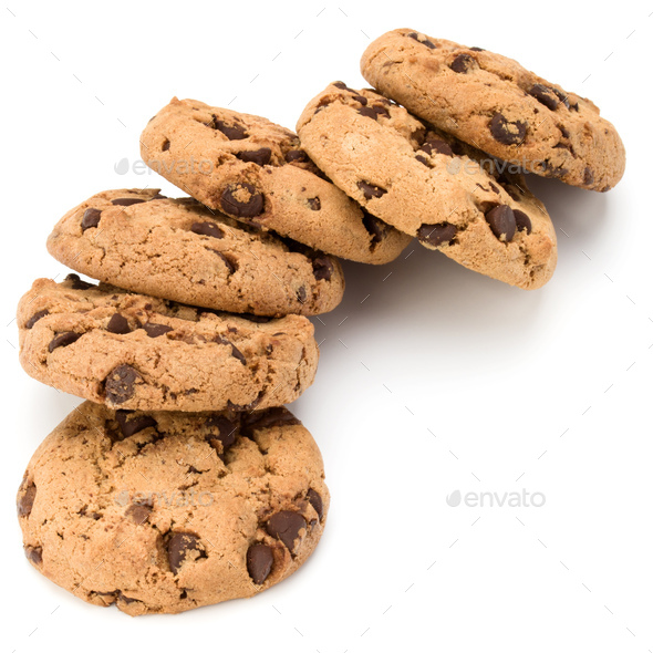 Chocolate chip cookies isolated on white background. Sweet biscuits. Homemade pastry. - Stock Photo - Images