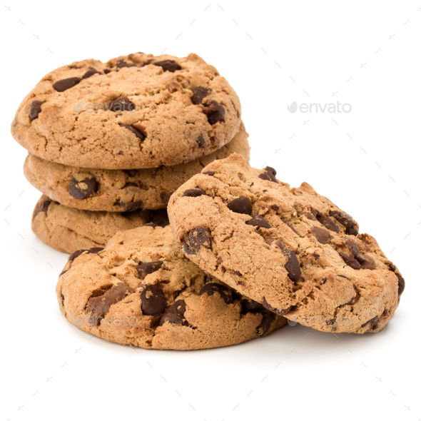 Stacked Chocolate chip cookies isolated on white background. Sweet biscuits. Homemade pastry. - Stock Photo - Images