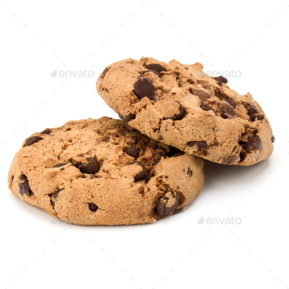 Two Chocolate chip cookies isolated on white background. Sweet biscuits. Homemade pastry. - Stock Photo - Images