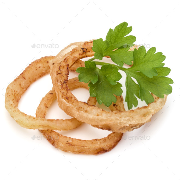 Delicious crispy fried onion rings isolated on white - Stock Photo - Images