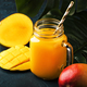 Mango juice or cocktail in glass jar with fresh fruit - PhotoDune Item for Sale