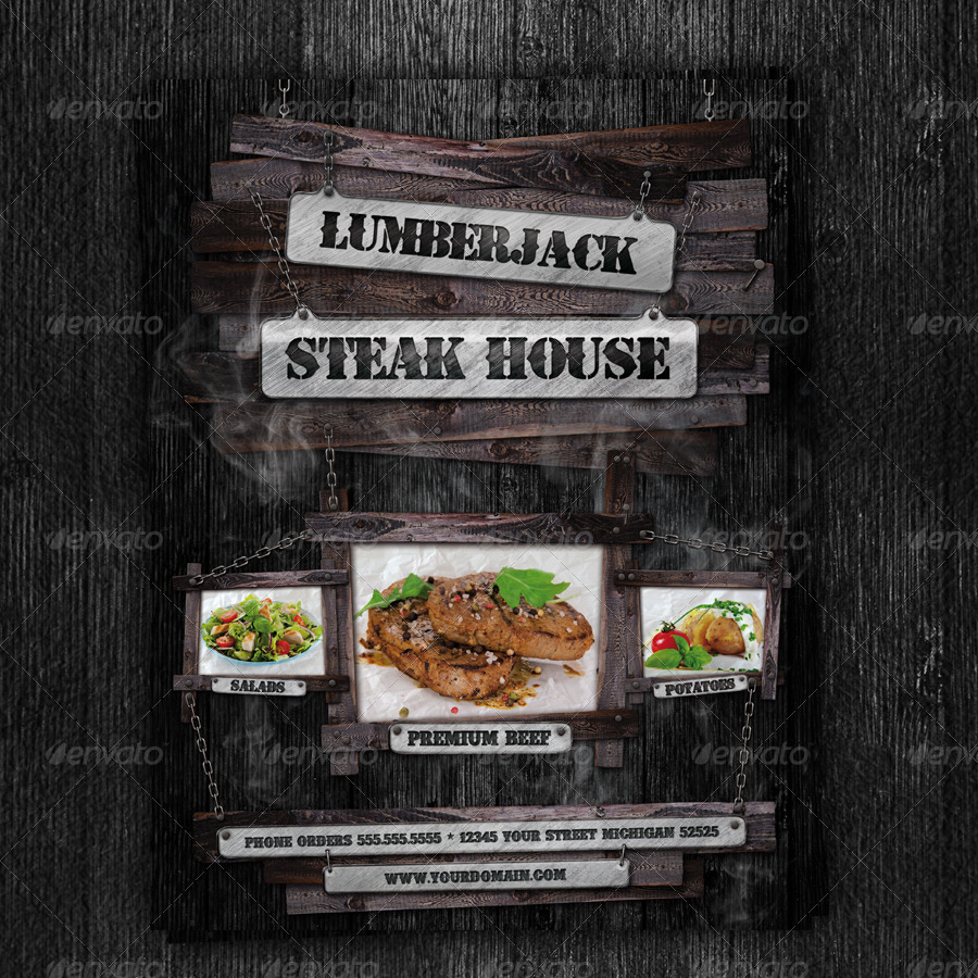 Steak House Flyer Template by dadaelechso | GraphicRiver