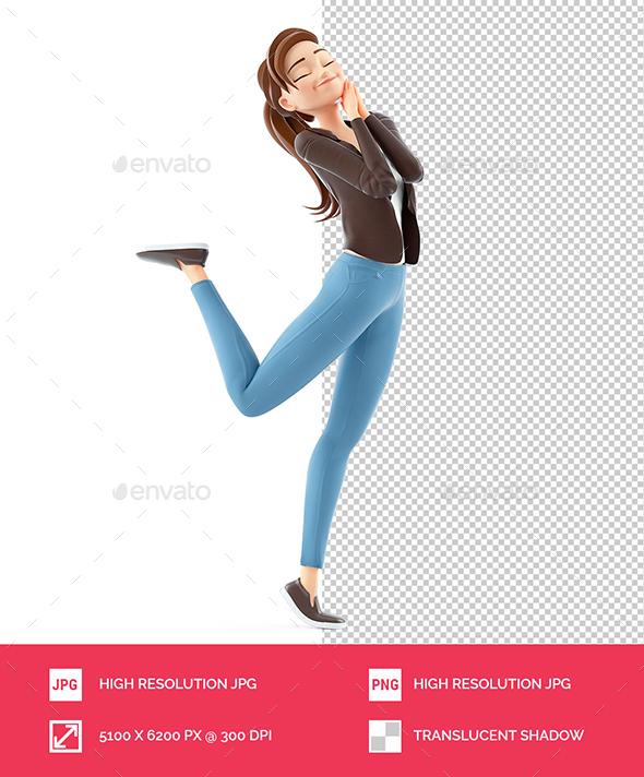 3D Cartoon Woman in Happy Mood