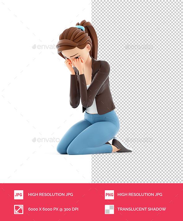 3D Sad Cartoon Woman Sitting on her Knees