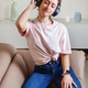 Young women listening to music with headphones - PhotoDune Item for Sale