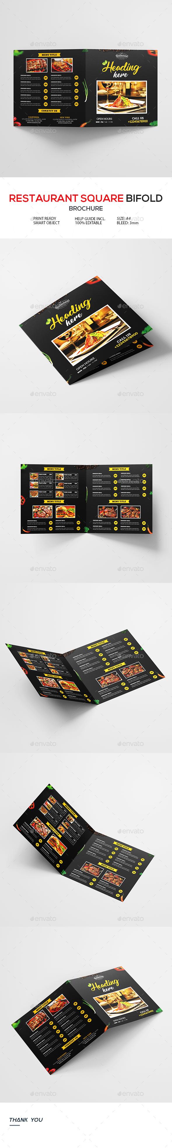 Bi-Fold Square Food Menu Brochure