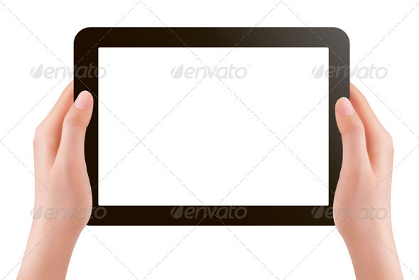 Hands holding digital tablet pc  Vector illustrat - Computers Technology