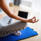 Beautiful young woman doing yoga, fitness exercise at home - PhotoDune Item for Sale