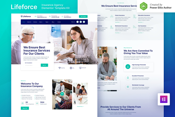Lifeforce – Insurance Agency Elementor Template Kit