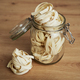 Close up of jar full of raw tagliatelle on the kitchen counter - PhotoDune Item for Sale