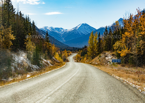 Stewart-Cassiar Highway 37 in fall BC Canada - Stock Photo - Images