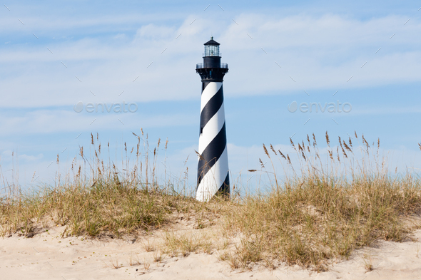 Cape Hatteras Lighthouse seen from beach NC USA - Stock Photo - Images