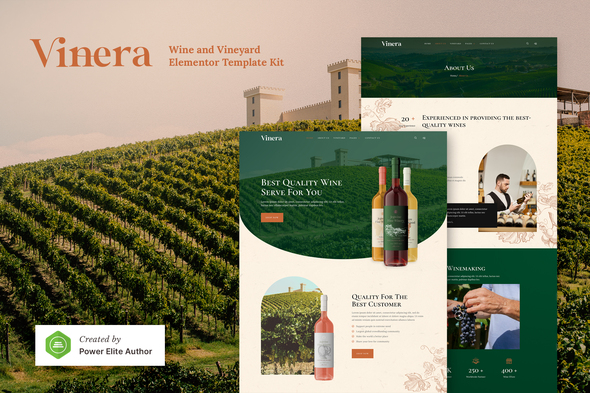 Vinera – Wine & Vineyard Elementor Template Kit