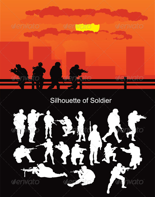 Silhouette Of Soldier - Characters Vectors