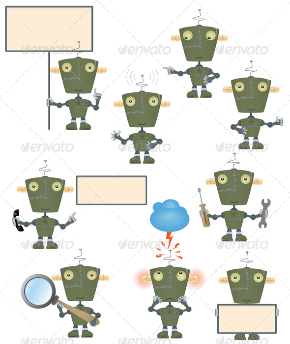 Funny military robot set - Miscellaneous Characters