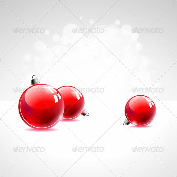 Vector Holiday illustration with Christmas balls. - Christmas Seasons/Holidays