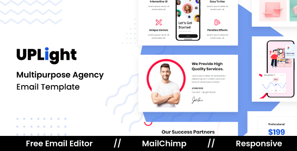 Uplight Agency - Responsive Email Template For Agency With Free Email Editor