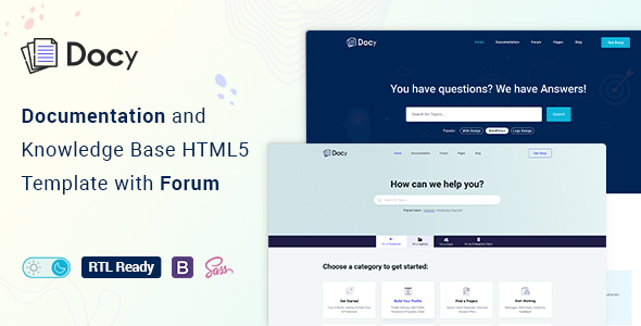 Docy – Documentation And Knowledge Base HTML5 Template with Helpdesk Forum