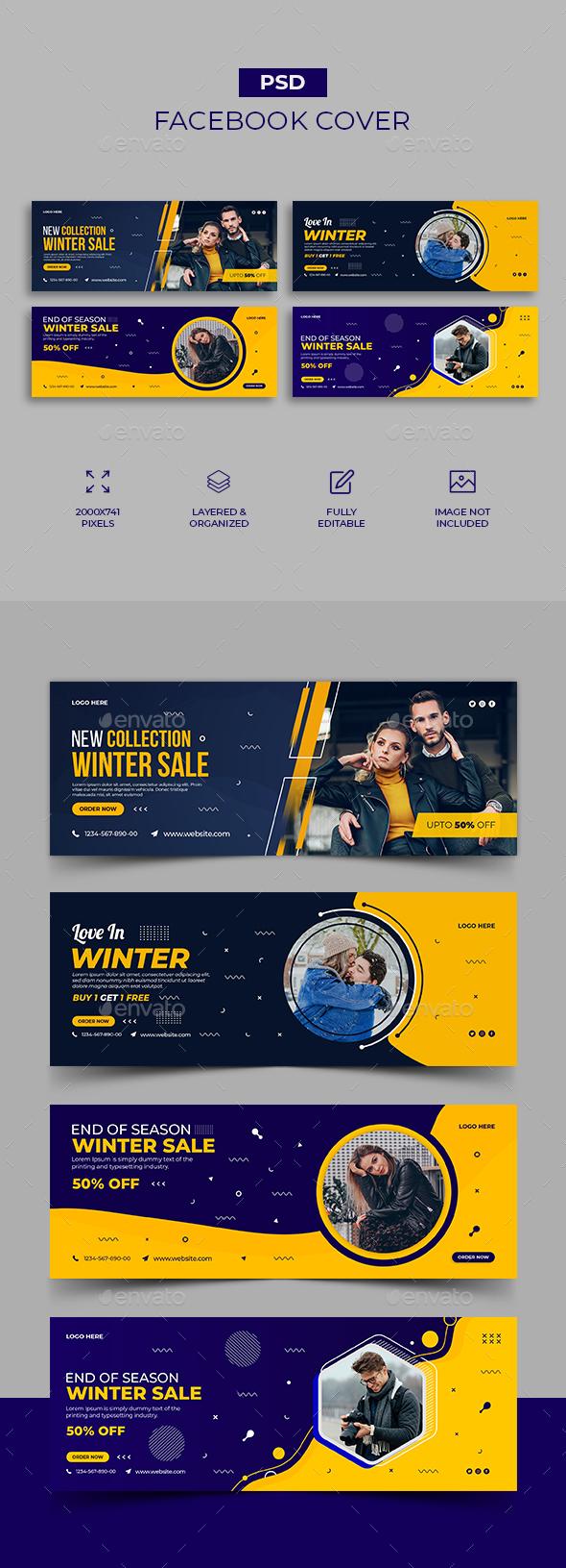 Winter fashion sale Facebook Cover Template