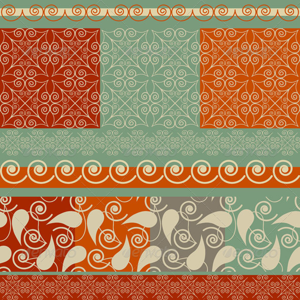 Vector Christmas  Set: Seamless Patterns and Borde - Patterns Decorative
