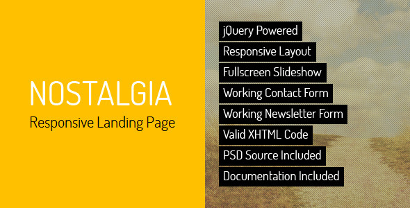 Nostalgia - Responsive Landing Page - Creative Landing Pages