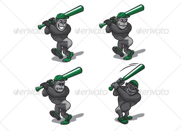 gorillas  with baseball bat - Animals Characters