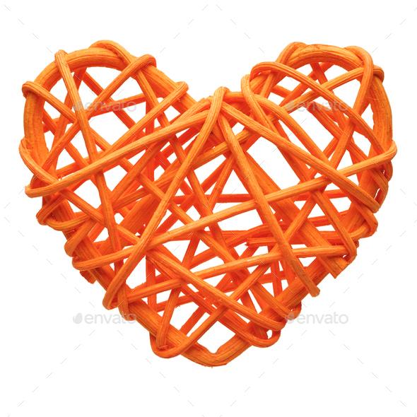 Orange heart, wicker decoration - Stock Photo - Images