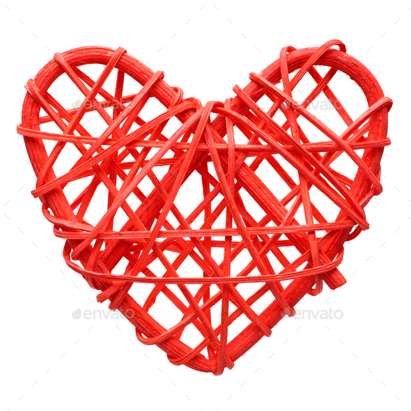 Red heart, wicker decoration - Stock Photo - Images