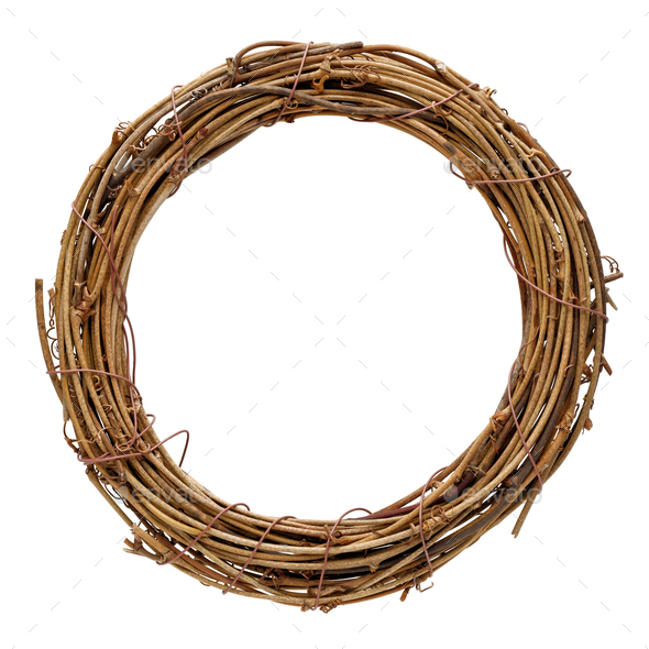 Braided twiggen wreath - Stock Photo - Images