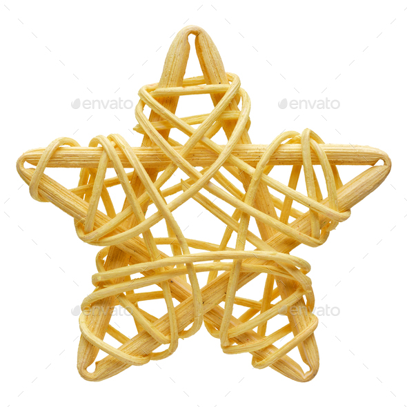 Yellow five-point star, wicker decoration - Stock Photo - Images