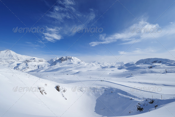 Mountains with snow in winter - Stock Photo - Images
