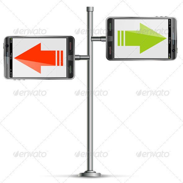 Pole with Smartphone and Arrows - Communications Technology