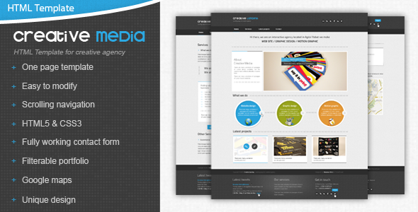 Creative Media One Page Html Creative Agency - Creative Site Templates