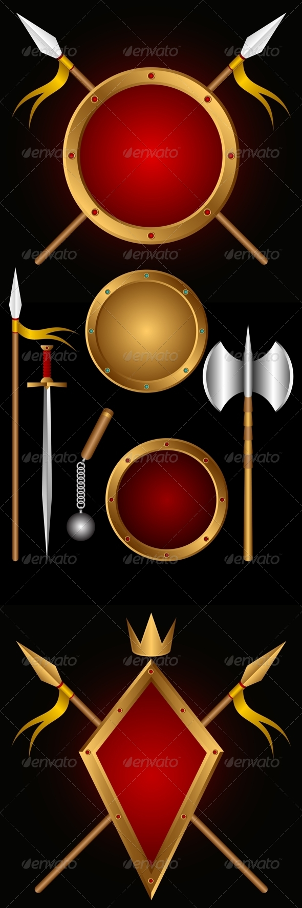 Ancient weapons. - Objects Vectors
