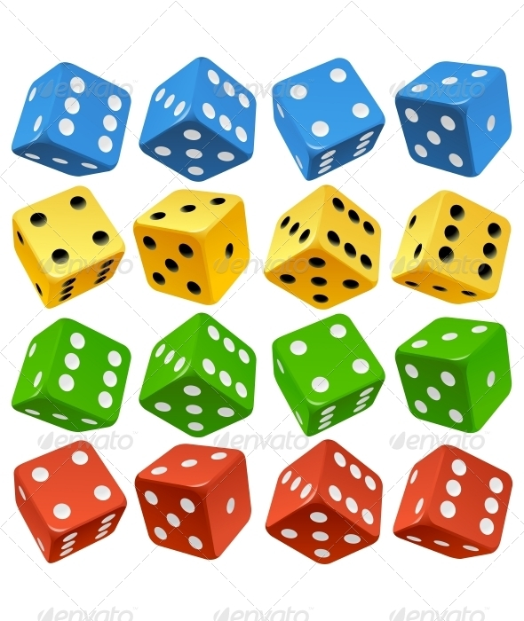 Game dice set. Vector red, yellow, green and blue  - Objects Vectors