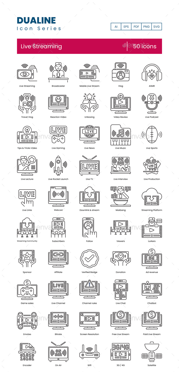 50 Live Streaming Icons | Dualine Series