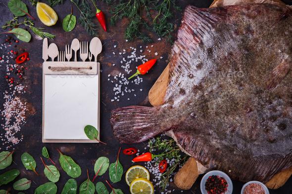 Flounder raw fish - Stock Photo - Images