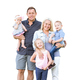 Happy Young Caucasian Family Isolated on a White Background - PhotoDune Item for Sale